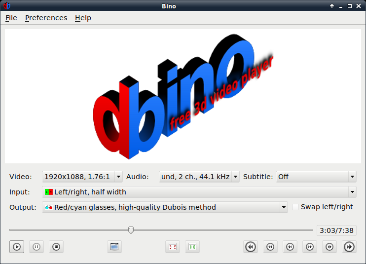 Bino: free 3D video player - About