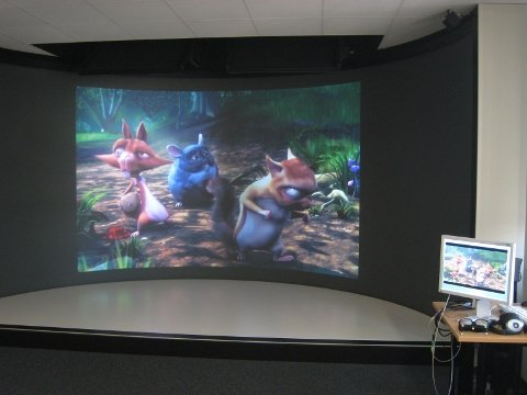 Bino displaying a video in a Virtual Reality installation
